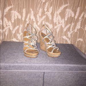 Wedge sandals with rhinestones